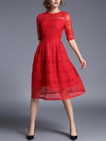 Lace Crochet Eblow Sleeve Dress
