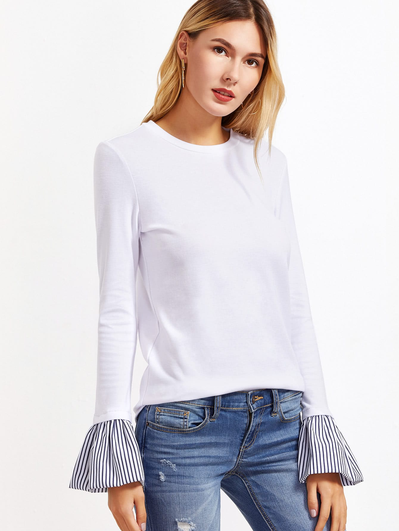 Striped Bell Cuff Tee bow tie bell cuff striped tee