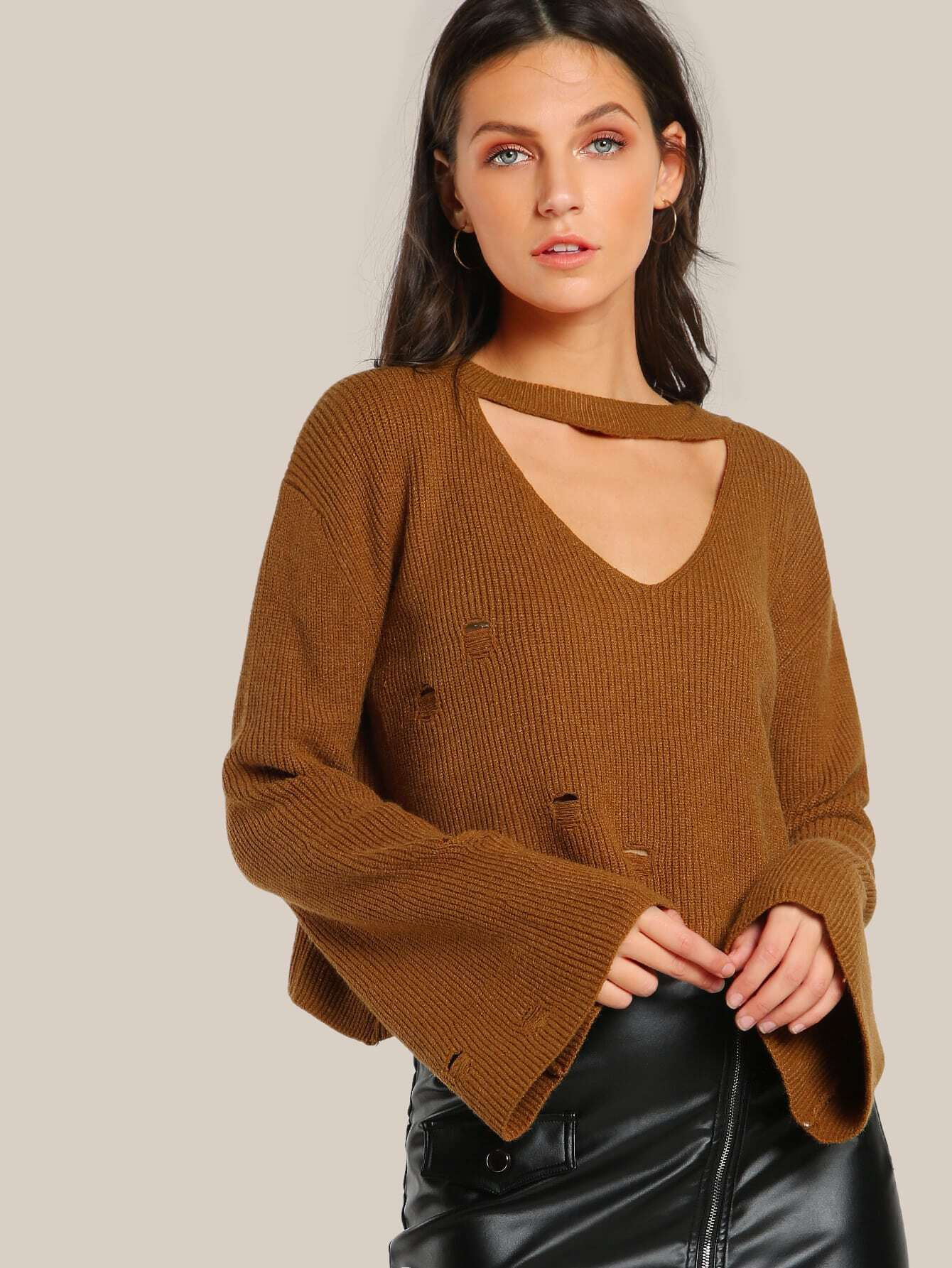 Distressed Choker Ribbed Crop Top CAMEL