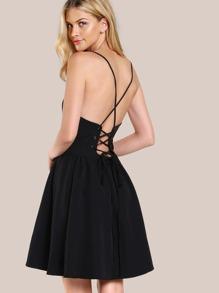 Halter Back Lace Up Dress BLACK