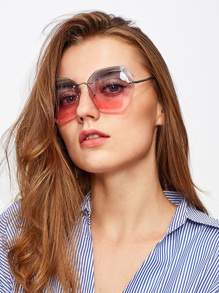 Ombre Lens Polygon Sunglasses