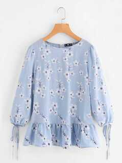 Tied Cuff Frill Hem Flower Print Top