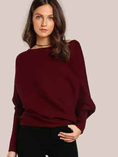 Asymmetric Hem Long Sleeve Top BURGUNDY