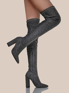 Glitter Point Toe Stretch Lurex Boots PEWTER