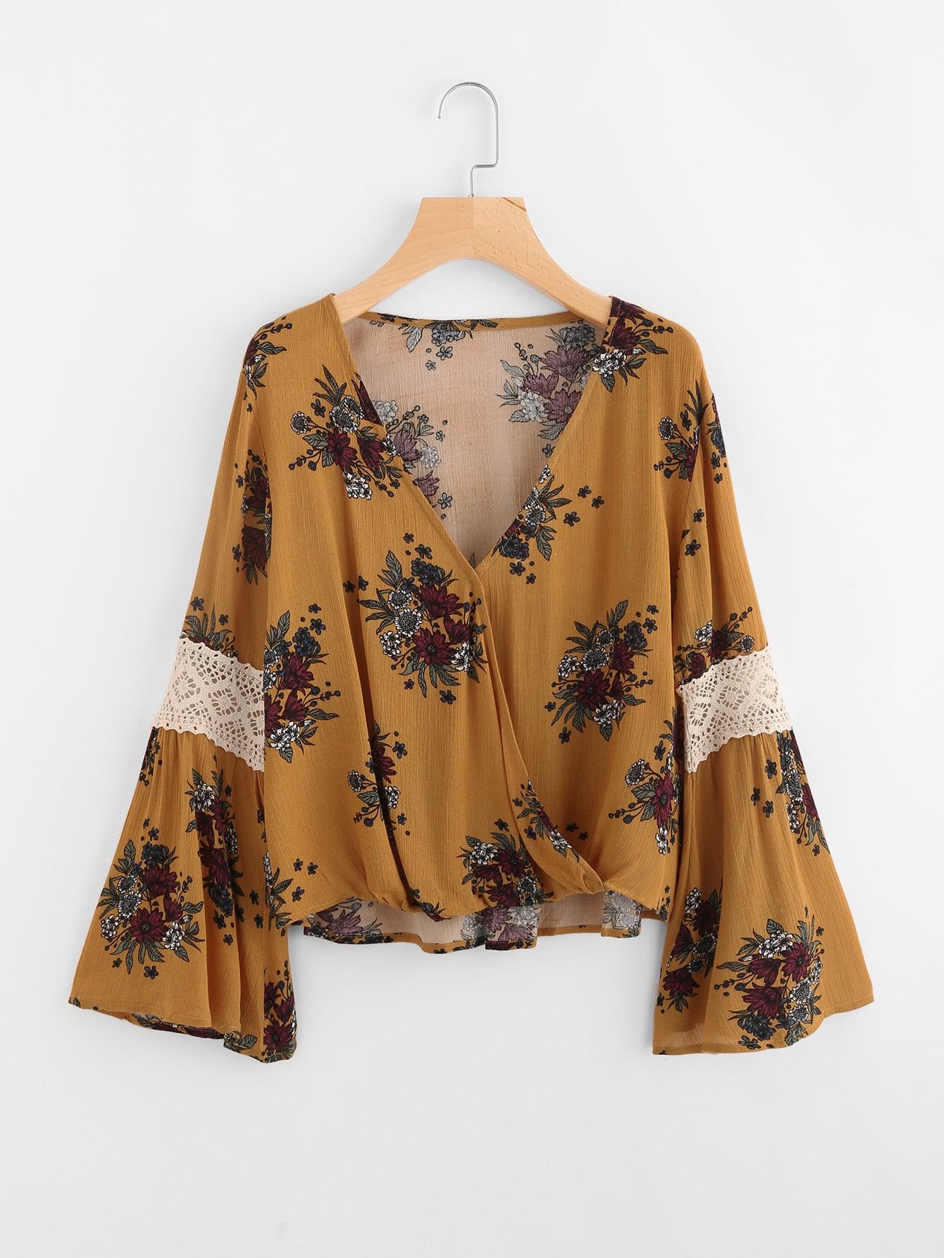 Fluted Sleeve Random Lace Panel Surplice Blouse lace panel tiered sleeve blouse