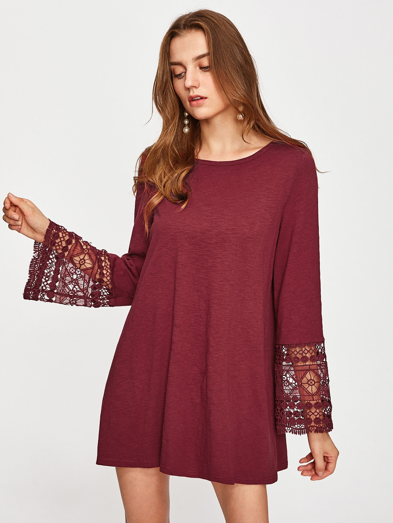 Guipure Lace Fluted Sleeve Swing Dress wl12l 2b530 new and original sick high precision laser light photoelectric switch laser sensor