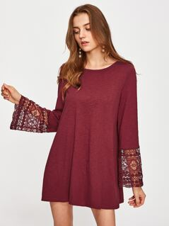 Guipure Lace Fluted Sleeve Swing Dress