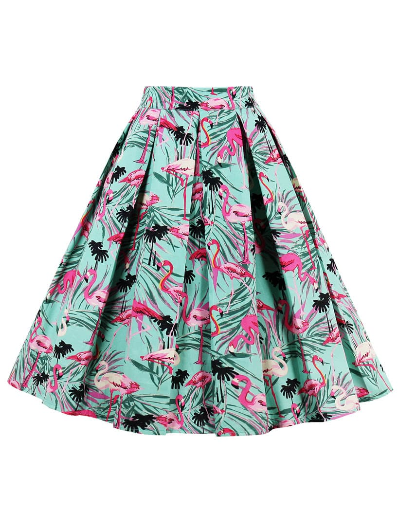Palm Leaf And Flamingo Print Box Pleated Skirt