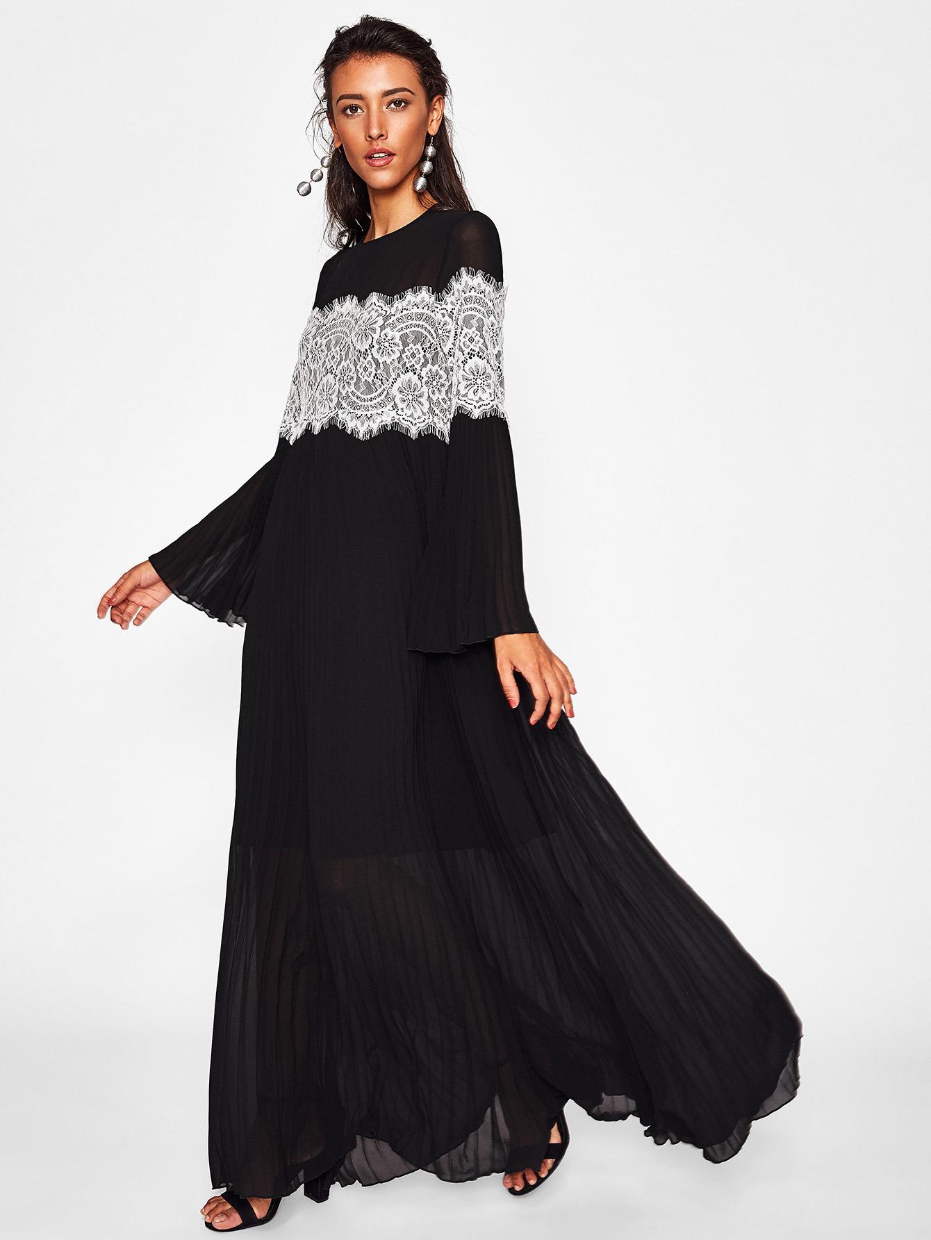 Contrast Lace Applique Trumpet Sleeve Flowy Dress