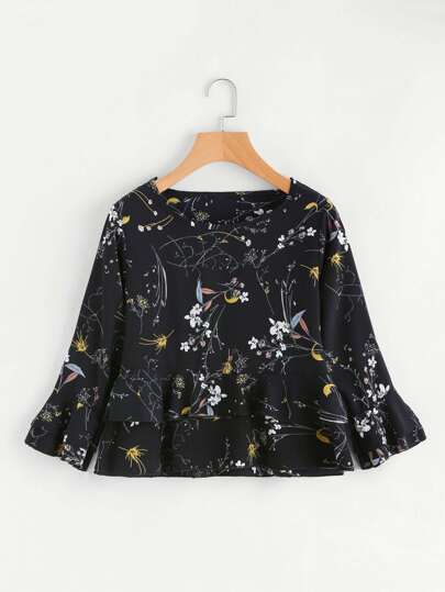Floral Print Random Frill Layered Blouse