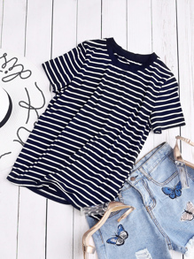 Ribbed Neck Striped Tee ROMWE