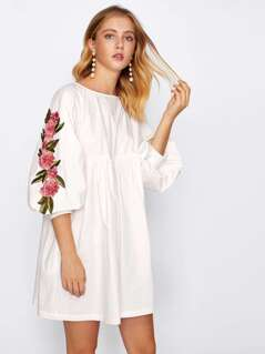 Embroidered Applique Lantern Sleeve Smock Dress