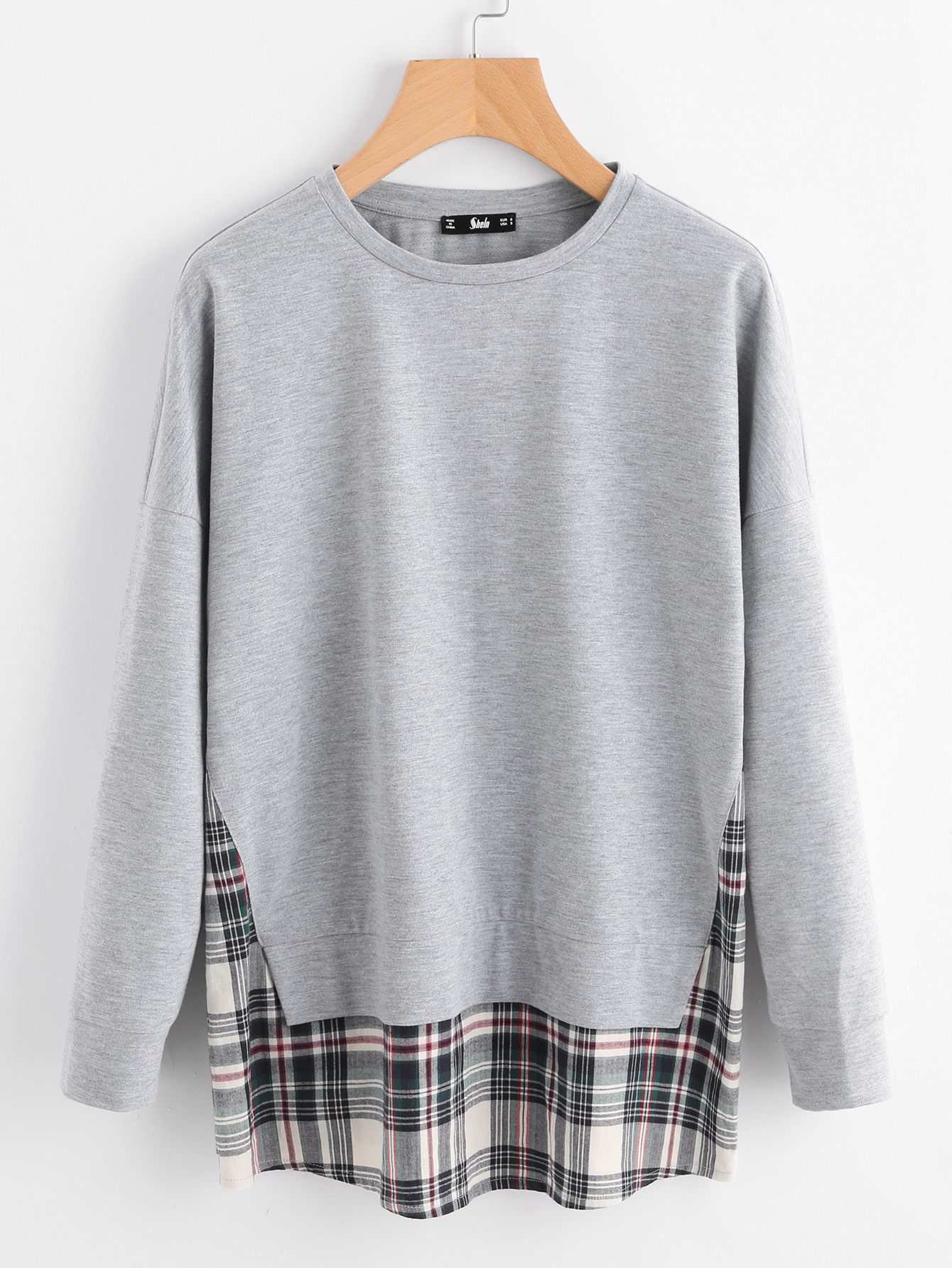Drop Shoulder Checkered Hem Heathered Sweatshirt drop shoulder frill hem batwing sweatshirt