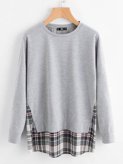 Drop Shoulder Checkered Hem Heathered Sweatshirt