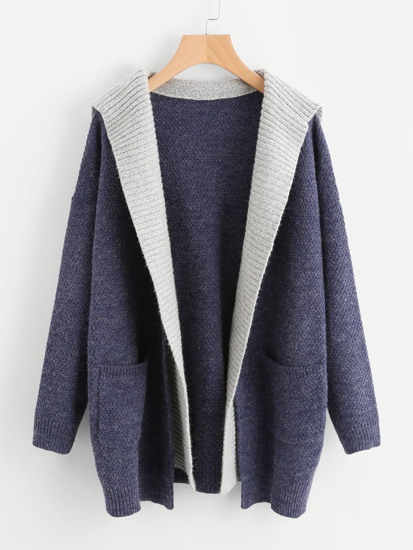 Contrast Hood Pocket Detail Open Front Sweater Coat sweater170804461