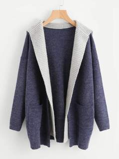 Contrast Hood Pocket Detail Open Front Sweater Coat