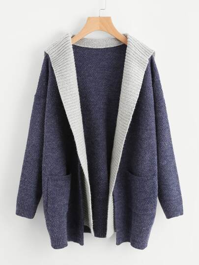 Contrast Hood Pocket Detail Open Front Sweater Coat