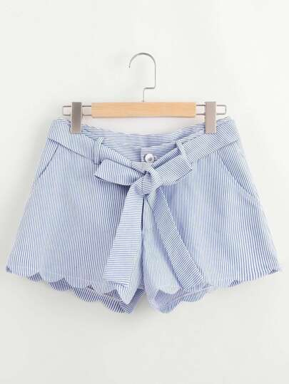 Scallop Edge Self Belt Striped Shorts