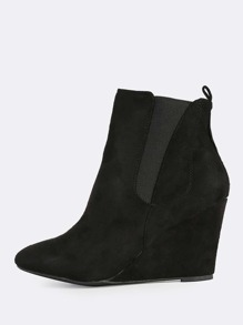 Solid Wedge Booties BLACK