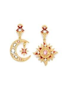 Rhinestone Moon & Sun Design Earrings