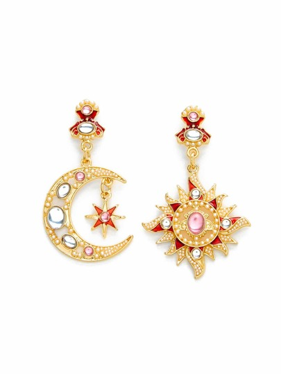 Rhinestone Moon & Sun Design Earrings