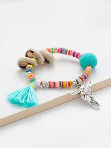 Metal Bull Head & Tassel Detail Beaded Bracelet
