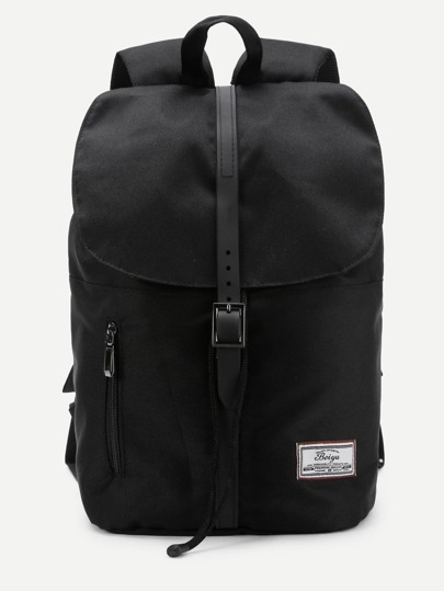 Zipper & Buckle Front Canvas Backpack