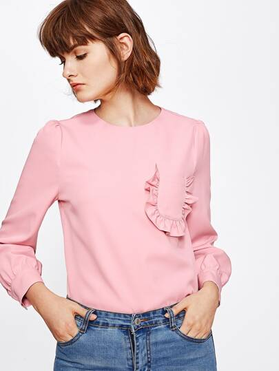Frill Pocket Front Puff Sleeve Blouse