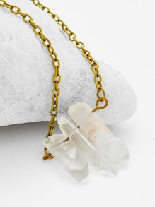 Natural Crystal Pendant Chain Necklace