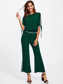 Contrast Binding Split Sleeve Top And Flared Pants Set
