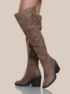 Buckle Accent Over The Knee Boots TAUPE
