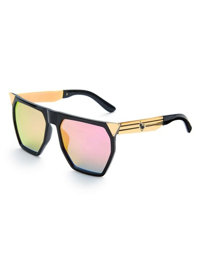 Flat Top Flash Lens Oversized Sunglasses