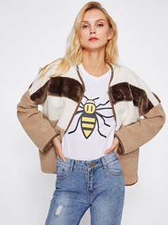 Contrast Binding Open Front Fleece Jacket