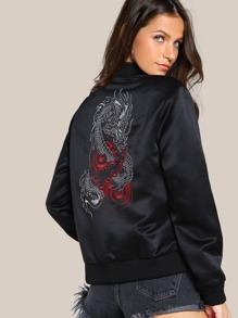 Dragon Embroidered Back Bomber Jacket