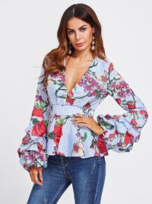 Mixed Print Plunging Peplum Top