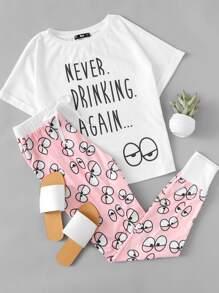Cartoon Eye Print Tee And Pants Pajama Set
