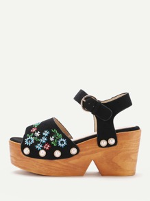 Flower Embroidered Wedge Sandals With Faux Pearl