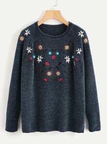 Flower Embroidered Raglan Sleeve Chenille Sweater