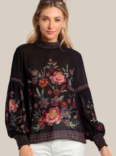 Shirred Neck Floral Print Sheer Top BLACK
