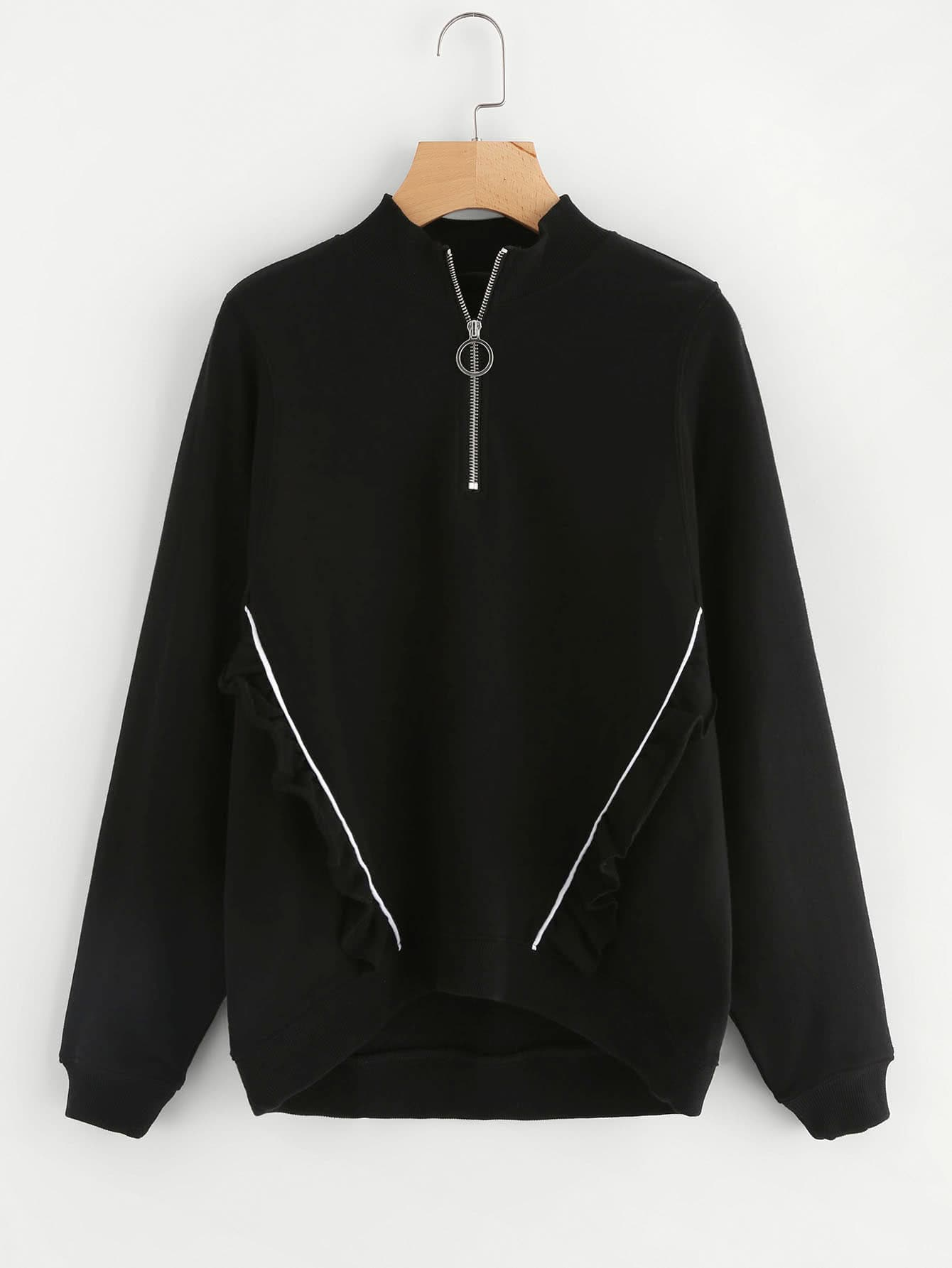 Zip Front Tipping And Frill Detail Sweatshirt calvin klein men s ponte with rib detail and tipping zip front sweatshirt