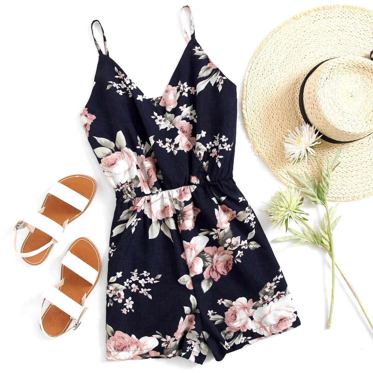 Korte florale jumpsuit