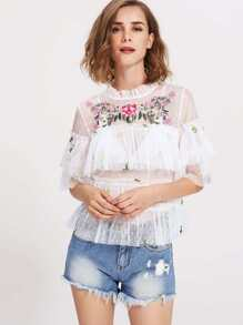 Flower Embroidered Frilled Debby Mesh Top
