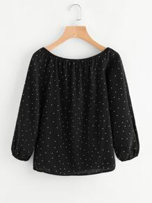 Boat Neckline Polka Dot Top