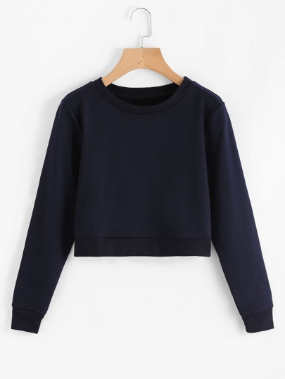Ribbed Hem Basic Sweatshirt
