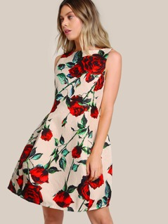 Floral Print Sleeveless Dress BEIGE