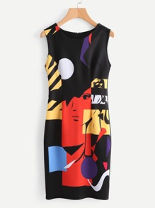 Abstract Print Sheath Dress