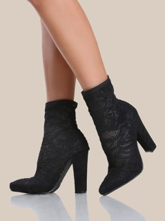 Antique Floral Embroidered Mesh Point Toe Boots BLACK