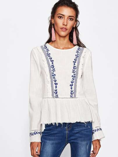 Lace Insert Frill Trim Raw Hem Embroidered Top