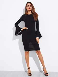 Contrast Binding Trumpet Sleeve Slit Back Dress