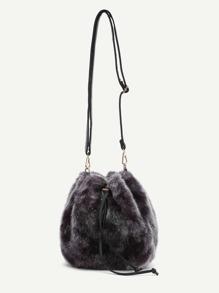 Faux Fur Overlay Shell Shaped Shoulder Bag